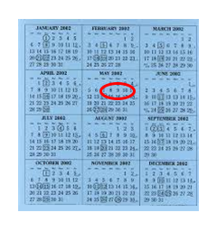 calendar with dates circled