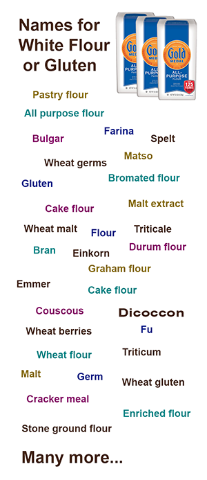 Names for flour or gluten (infographic)