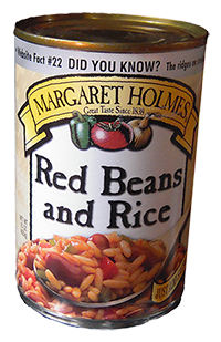 Can of rice and red beans