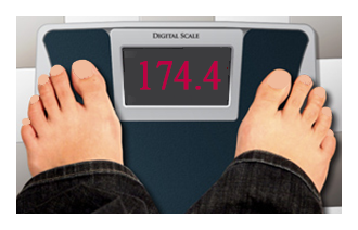 Scale showing weight 174 pounds