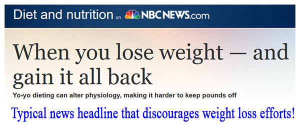 News headline about losing and gaining weight